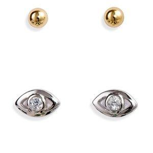 NWT! Sterling Silver Evil Eye Stud Earring